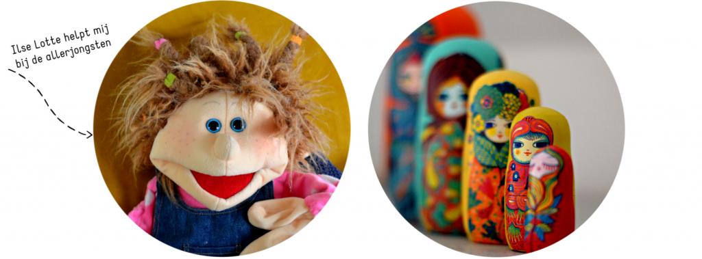 Wat is kindercoaching? Ilse Lotte een handpop van Living Puppets en matroesjka poppen worden gebruikt bij de coaching van onder anderen brusjes